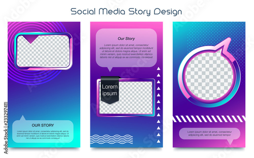 Instagram Frame Template | Instagram Stories Template Photo Frame Vector Set Stock Image And
