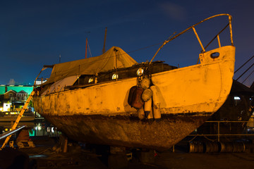 Canvas Prints Ship Old Sailing Boat in Dry Dock