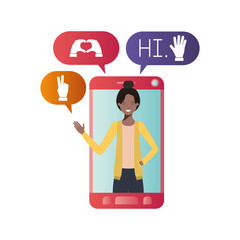 young woman in smartphone avatar character