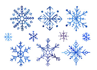 A set of blue watercolor snowflakes on a white background.