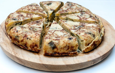 Spanish tortilla surrounded by white background