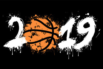 Abstract number 2019 and a basketball from blots