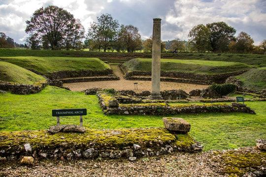 Roman Theatre at St Albans, Hertfordshire, England.