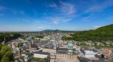 Panoramic view of Salzburg and surroundings, Austria