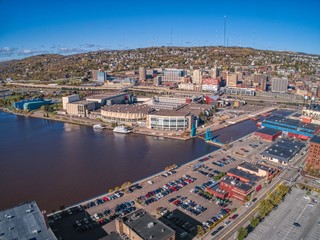 Aerial View of the popular Canal Park Area of Duluth, Minnesota