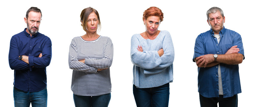 Collage of group of elegant middle age and senior people over isolated background skeptic and nervous, disapproving expression on face with crossed arms. Negative person.