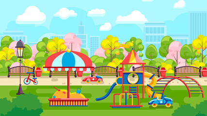 Colorful cartoon illustration with urban playground in modern park