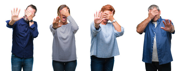Collage of group of elegant middle age and senior people over isolated background covering eyes with hands and doing stop gesture with sad and fear expression. Embarrassed and negative concept.
