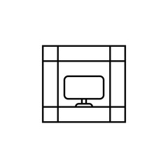 bookshelf with tv icon. Element of outline furniture icon. Thin line icon for website design and development, app development. Premium icon