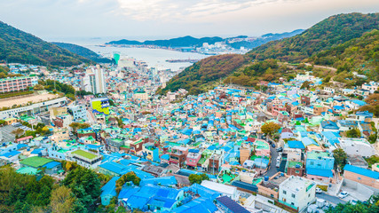 Top view of the ancient village named Gamcheon Culture Village in Busan city, South Korea