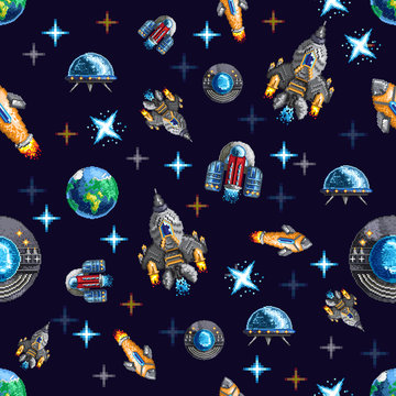 Seamless background with pixel flying space rockets and ship among planets
