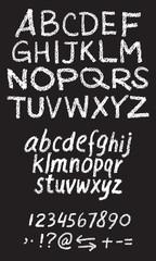 White chalk hand drawing vector alphabet