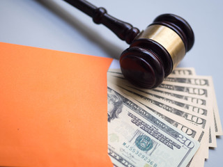 banknotes  money business financial . wooden gavel law legal concept