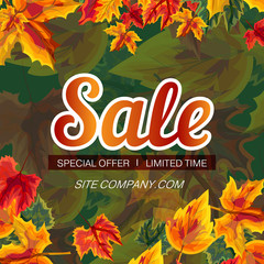Modern design of vector banner with bright leaves and sale advertisement on green background