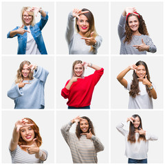 Collage of young beautiful women over isolated background smiling making frame with hands and fingers with happy face. Creativity and photography concept.