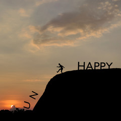 Silhouette of man change unhappy to happy text on top mountain, sky and sun light background. Business, success, leadership, challenge, motivation, achievement and goal concept, 3d rendering