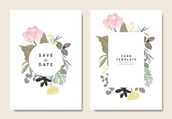 Floral wedding invitation card template design, bouquets of tulips and leaves with circle and rectangle frames on white background, vintage style