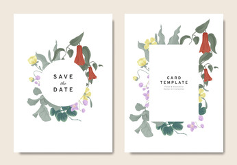 Floral wedding invitation card template design, bouquets of red Lapageria rosea, purple Thalictrum delavayi, wildflowers and leaves with circle and rectangle frames on white background, vintage style