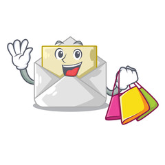 Shopping open envelope greeting posters on character