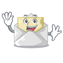 Waving open envelope greeting posters on character