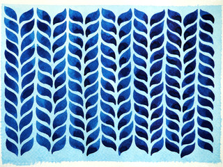 minimal blue leaf wave watercolor painting illustration hand drawing