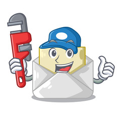 Plumber envelope opened on shape white mascot