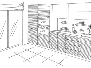 Kitchen room graphic black white home interior sketch illustration vector