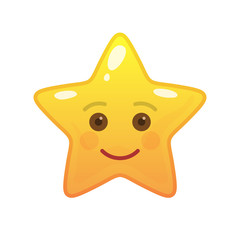 Happy star shaped comic emoticon. Smiling face with facial expression. Joyful emoji symbol for internet chatting. Funny social communication animated character. Mood message isolated vector element