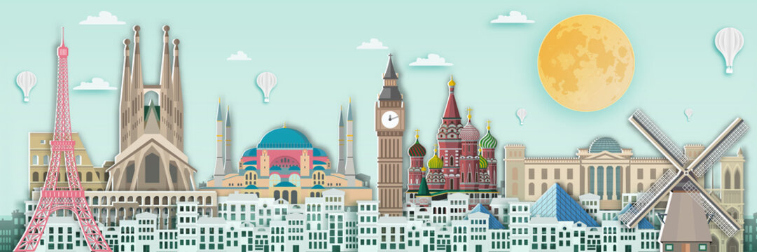 Famous landmark for travel card in europe ,England,France,Spain,Italy,germany,netherland,russia,turkey in paper art style.
