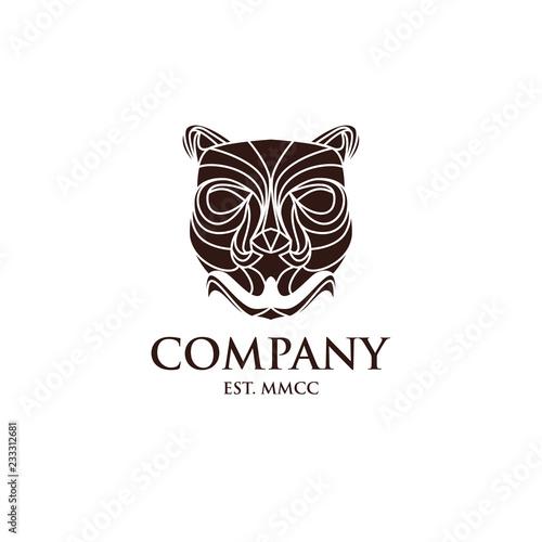 Wild Tiger Head Vintage Style Wood Craft Logo Design Stock Image