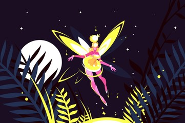 Beautiful fairy flying in night forest