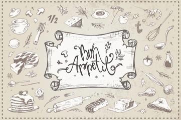 Hand drawn culinary items, food, kitchen utensils