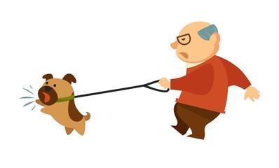 Senior old man walking with angry dog domestic animal