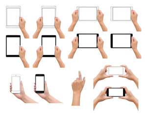 Set of one and two human hand in holding, using or taking photo gesture with smartphone and tablet in black and white colors isolate on white background,  Low contrast for retouch or graphic design
