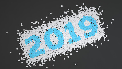 2019 number made from white and blue confetti