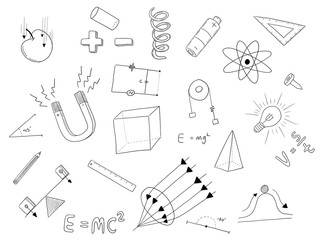 physics physic doodle art black and white with science object