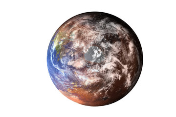 Planet Earth deteriorated. North Pole view from top of solar system. Global warming climate concept. isolated. Elements of this image furnished by NASA.