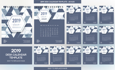 Marble Desk Calendar 2019 template - 12 months included - A5 Size