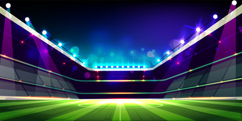 Empty soccer field illuminated with projectors lights cartoon vector illustration. Open roof stadium or sport arena with three floors fan sectors ready for competition. Football championship concept