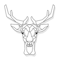 Stylized deer head vector illustration isolated on white background