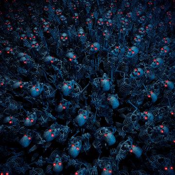 The skeleton horde / 3D illustration of evil robotic zombie skeletons with glowing eyes