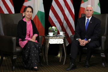 Myanmar's State Counsellor Aung San Suu Kyi and U.S. Vice President Mike Pence hold a bilateral meeting in Singapore