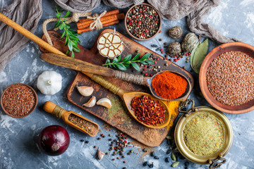 Zelfklevend Fotobehang Eten Spices and condiments for food