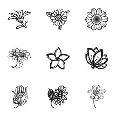 Flower plant icon set. Simple set of 9 flower plant vector icons for web design isolated on white background