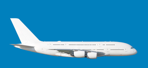 Poster Avion à Moteur Large heavy modern wide body passenger jet engine airplane flying side panoramic detailed gear up exterior view reference isolated on blue sky background air travel transportation white theme