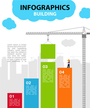 Bright vector illustration on the theme of Building. Crane lowers the green block, builds the city. Infographics on the background city and the sky. 4 color steps with space for text.