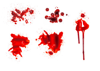 Collection various of blood or paint stain isolated on white background,graphic resources,halloween concept