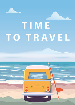 Travel, trip vector illustration. Ocean, sea, seascape. Surfing van, bus on beach. Summer holidays. Ocean background on road trip, retro, vintage. Tourism concept, cartoon style, isolated