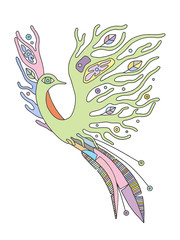 Vector hand drawn colorful illustration of isolated bird with decorative elements, branch, leaves, flowers, dots. Picture for coloring. Line drawing.