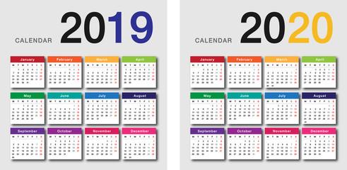 Vector De Calendario 2020.Year 2019 And Year 2020 Calendar Horizontal Vector Design